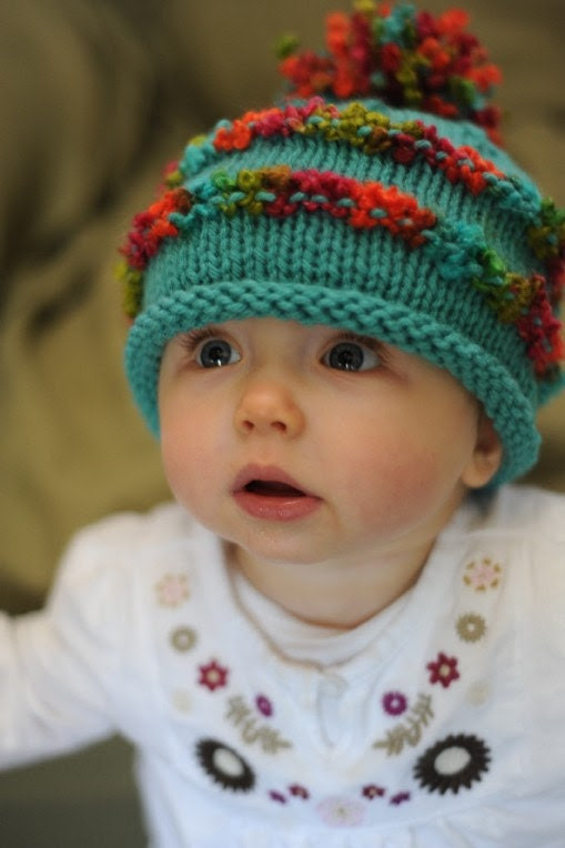 Aqua rolled-brim baby hat with boucle trim and pompom, Newborn - 1 year