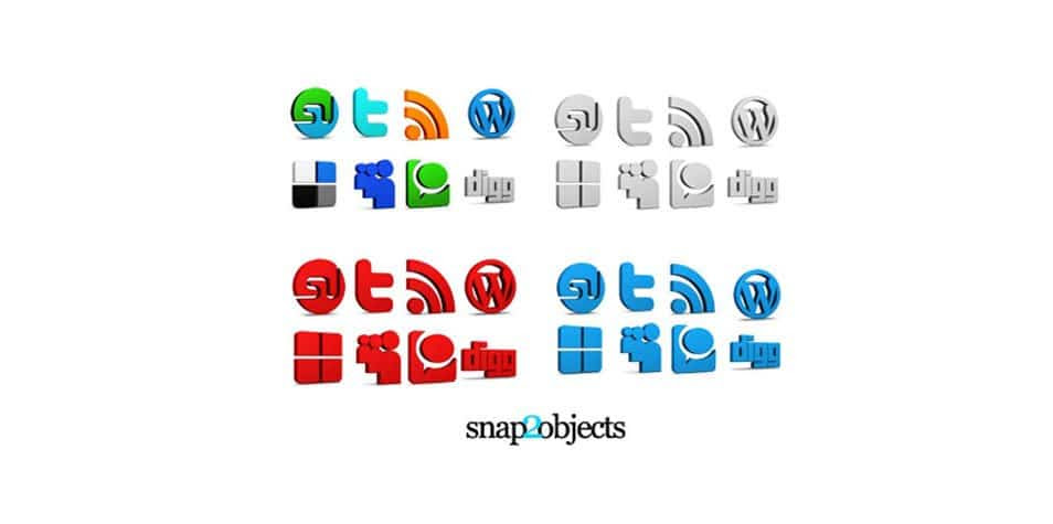 3D Social Media Icons for bloggers