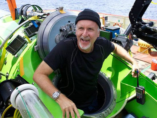 James Cameron is ecstatic after returning from his trip to the bottom of the Mariana's Trench on March 26, 2012.