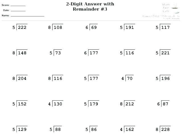 4th Grade Long Division Worksheet