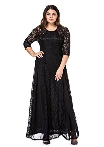 ESPRLIA Women's Plus Size Floral Lace 3/4 Sleeve Wedding