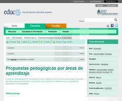 Propuestas pedagógicas por áreas de aprendizaje