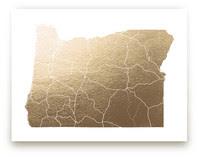 Oregon Map Foil-Pressed Art Print