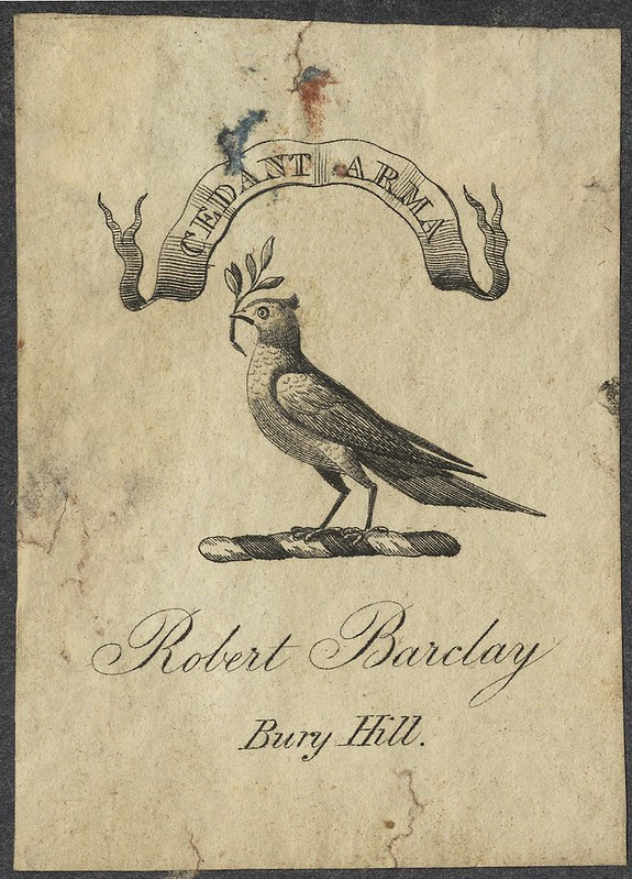 old bookplate (?18th c.) dove & ribbon banner