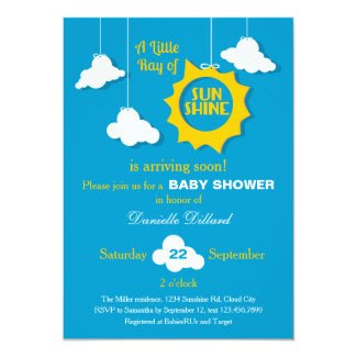 "A Ray of Sunshine Baby Shower Invitation 5"" X 7"" Invitation Card"
