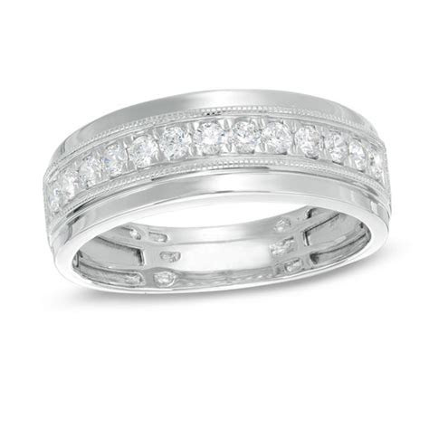 Men's 1/2 CT. T.W. Diamond Milgrain Wedding Band in 10K