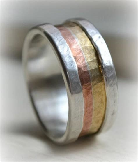 Mens Wide Band Ring   Marriage Of Metal Fine Silver With