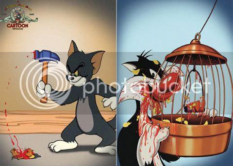 Tom golpeia Jerry e Frajola devora o Piu-Piu