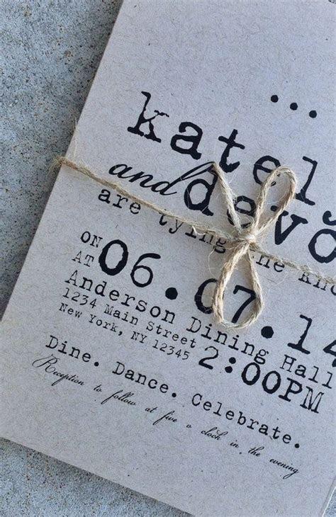DIY Printable Wedding Invitation   Typewriter kraft paper