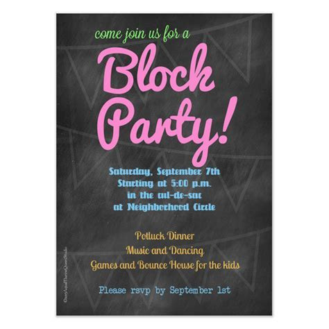 Chalkboard Block Party Invitation, Invitations & Cards on