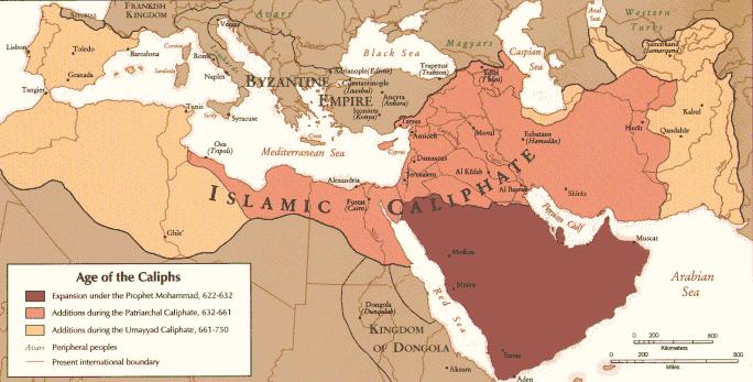 Mapa del Califato Omeya en el momento de su máxima extensión.