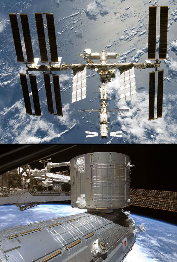Images of the International Space Station in its most recent configuration, as of June 13, 2008.