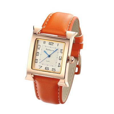 Women-Stainless-Steel-Back-Gold-Wrist-Watch-PU-Leather-Orange__49193_std by jewelcathy