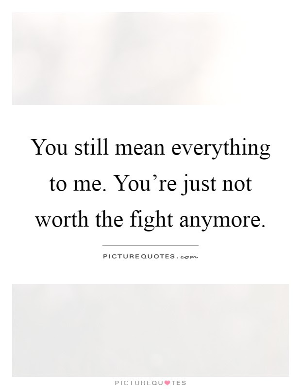 You Still Mean Everything To Me Youre Just Not Worth The Fight