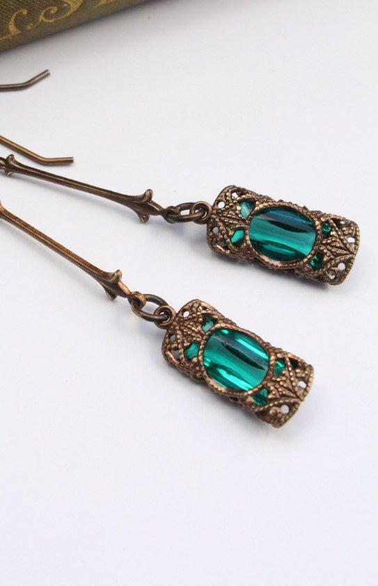 Stained Glass Window Dangles in Emerald - Czech Revival Vintage Glass Earrings