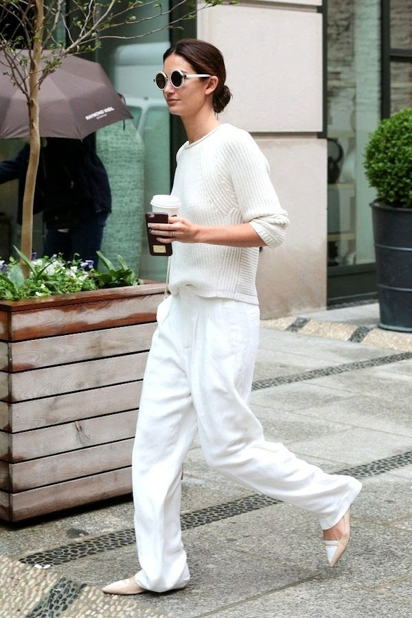 Le Fashion Blog Lily Aldridge Street Style All White Fall Look Round Sunglasses Ribbed Knit Slouchy Pants Nude Two Tone Tabitha Simmons Flats Via Zimbio