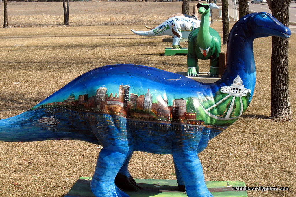These painted dinosaurs, part of an art project from the city of St Paul. Various local artist painted similarly shaped dinos to their own tastes.