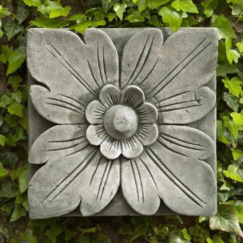 Campania International Square Flower Cast Stone Outdoor Wall Art