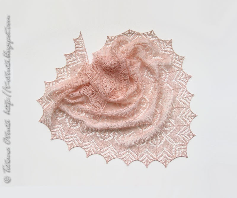 Pink linen shawl, knit lace scarf, gift for women, wrap, triangular, powder pink, peach - Otruta