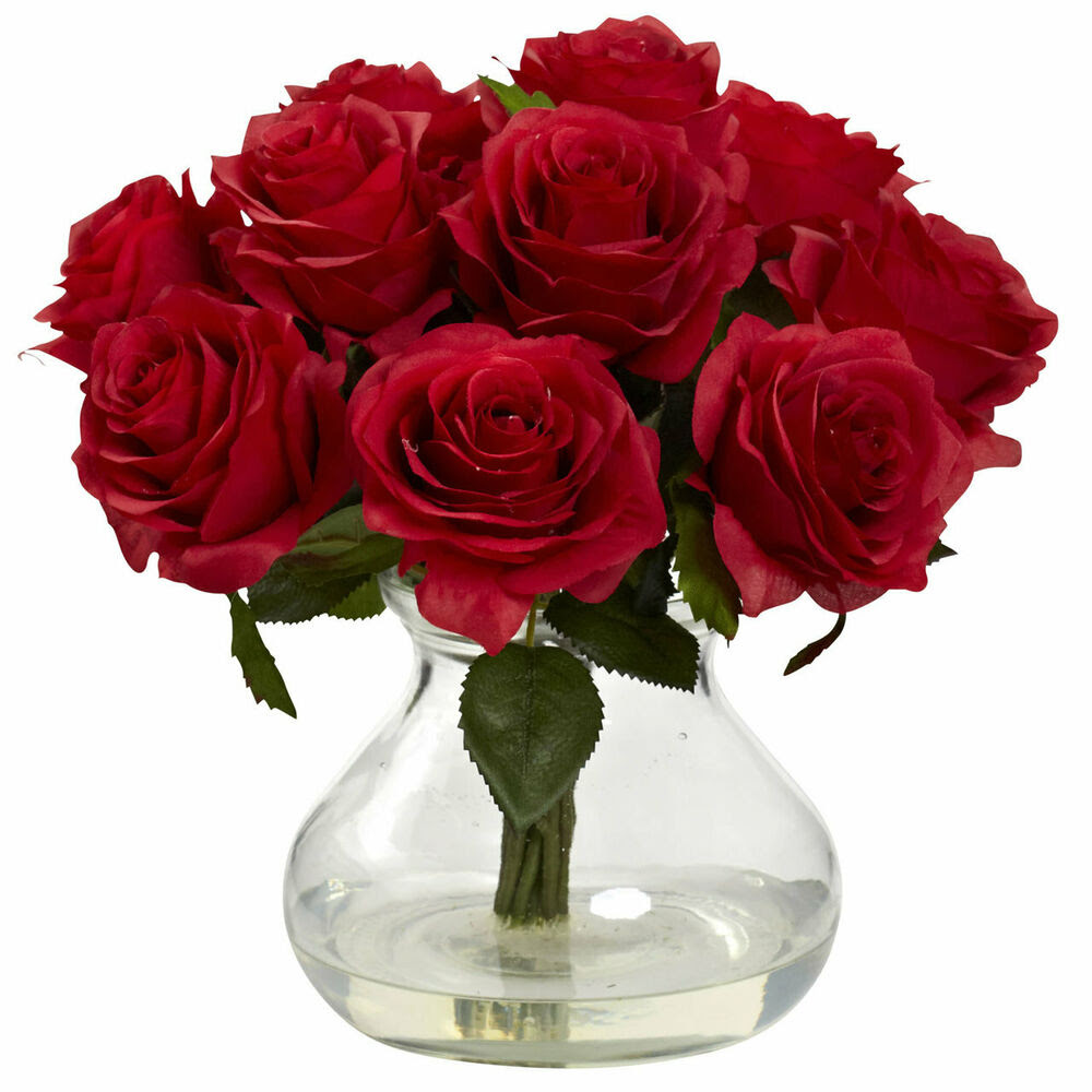 11\u0026quot; ARTIFICIAL RED SILK ROSE FLORAL FLOWER BOUQUET ARRANGEMENT w\/ GLASS VASE  eBay