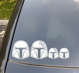 Mandalorian Family Car Sticker...Now with Boba Cat and Boba Fetch