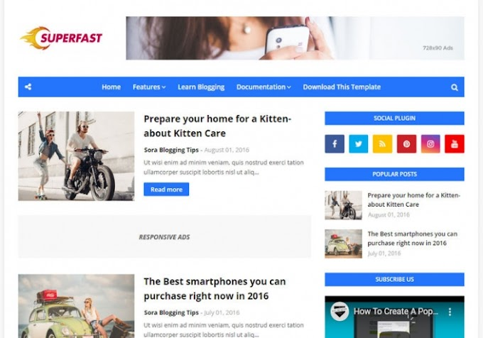 SuperFast Blogger Template Free Download 2020