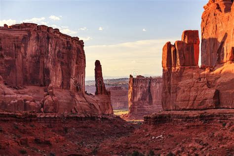 park avenue section arches national park moab utah stock