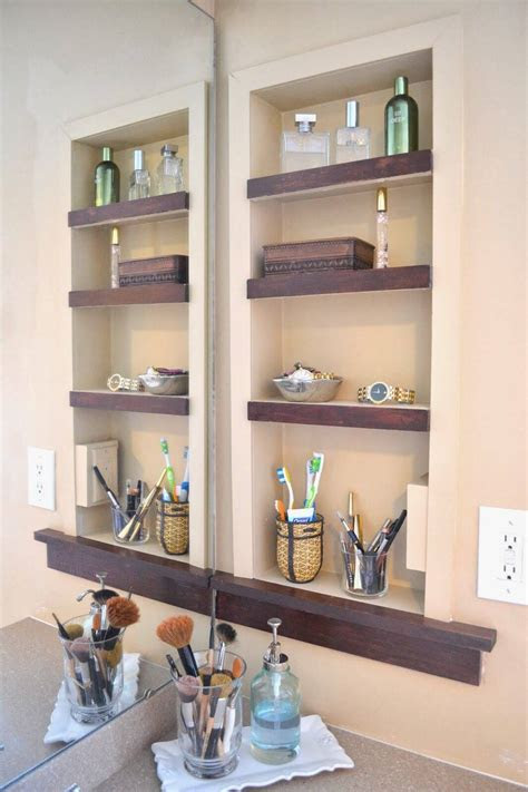 built  bathroom shelf  storage ideas