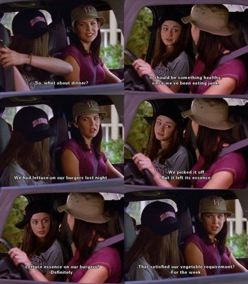 I always loved how the Gilmore Girls ate horrible food, but looked so skinny. It made their witty sarcasm barbed world that much more fantastical, in a good way. pop-goes-the-culture