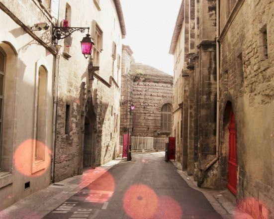 30% off -  Street in France photograph fine art print pink bokeh lights beige tan brown old stone french photo buildings  8x10 - LupenGrainne
