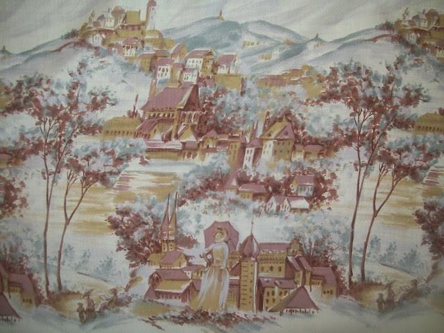 Vintage Novelty Border Print  Fabric