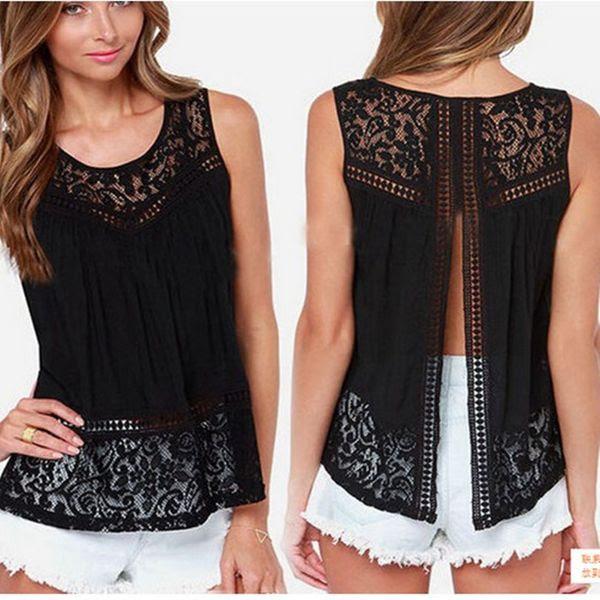 Fashion Ladies Lace Tank Tops Sleeveless T-shirts Vest Summer Blouse Tees Back Split Black White Blouses Womens Clothing Apparel Plus Size