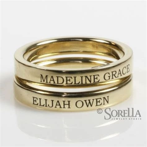 Engraved stackable rings with children's names on them I