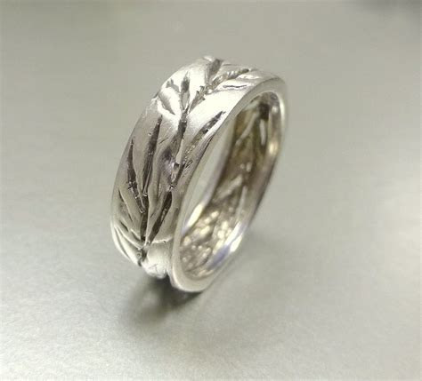 Hand Crafted Men's And Women's Wedding Band. Cutout Leaf