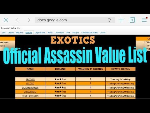 Roblox Assassin Values Exotics