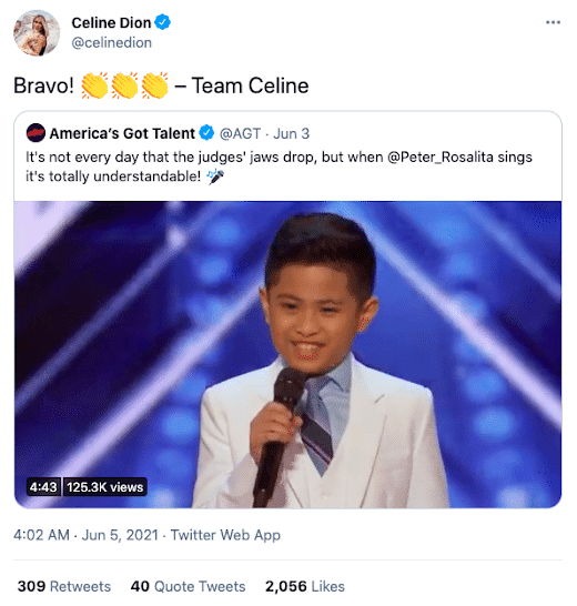 WOW! Celine Dion praises 10-year-old Filipino on 'AGT'