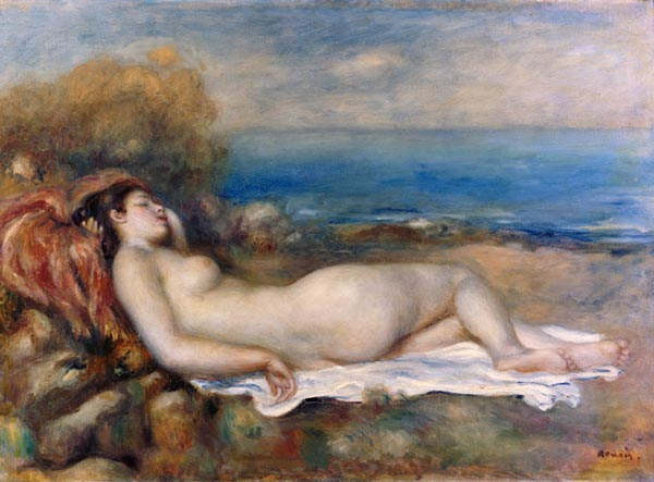 Pierre-Auguste Renoir - Resting taking a bath on the shore of the sea.