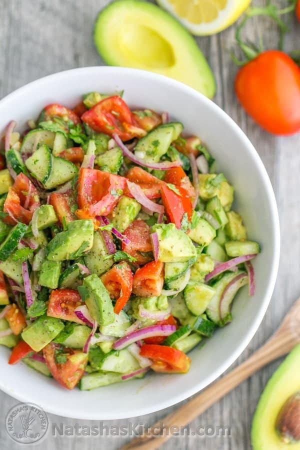 Cucumber, Tomato, Avocado Salad - Σαλάτα με Αγγούρι, Ντομάτα και Αβοκάντο