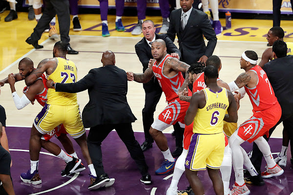 19617742592bf Fight breaks out in LeBron's home debut, Lakers fall to Rockets