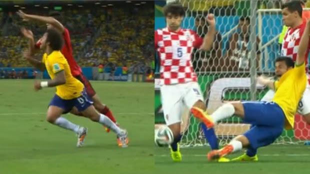 Marcelo e Fred: se jogaram dentro da área? (Foto: Reprodução SporTV)