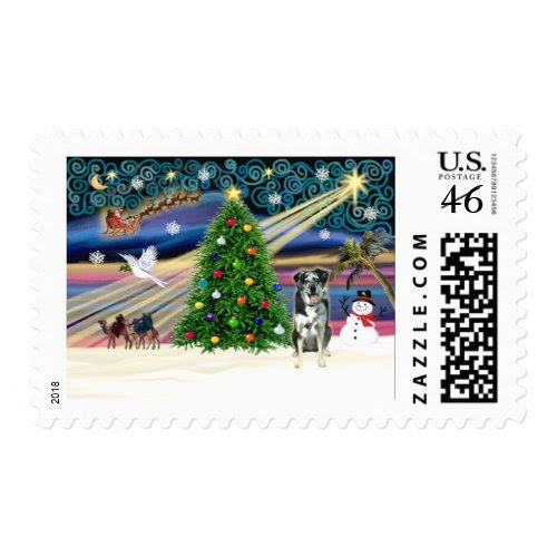 Christmas Magic Catahoula Leopard Dog stamp