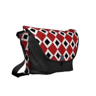Red, White, Black Diamond Pattern Messenger Bags