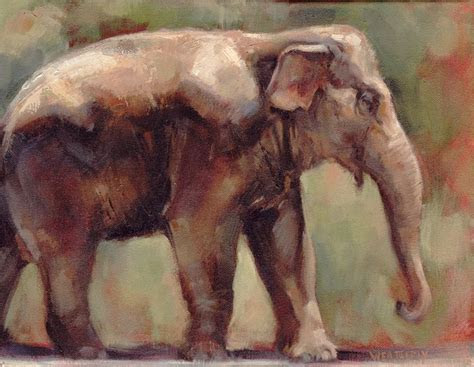 Joe Weatherly   Indian Elephant Oil Painting   Hand