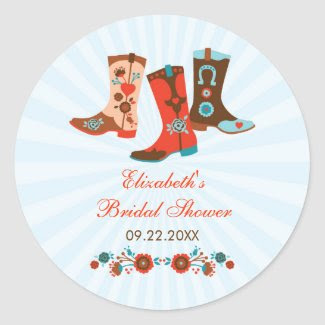 Cowgirl Boots Favor Sticker