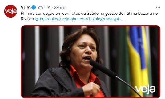 Deu na Veja a operação da PF na Saúde do governo Fátima Bezerra