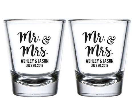 Mr and Mrs Wedding Shot Glasses, Mr. and Mrs. Personalized