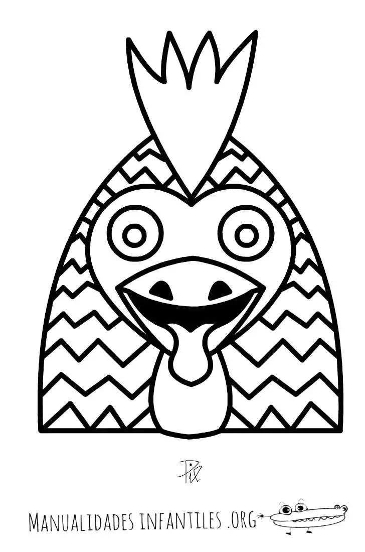 Máscara De Gallo Horóscopo Chino Actividades Para Niños