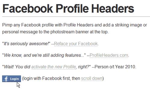 Profile Header Login