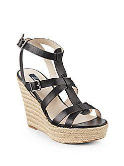 Saks Fifth Avenue BLUE Olive Gladiator Wedge Sandals