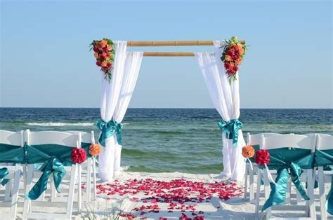 cheap beach weddings Destin Florida, bamboo wedding arbor